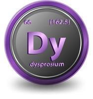 elemento químico disprosio. símbolo químico con número atómico y masa atómica. vector