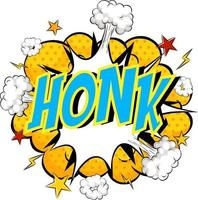 Word Honk on comic cloud explosion background vector