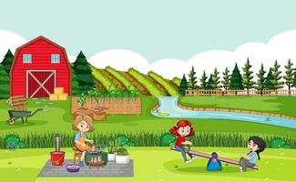 Happy family in farm scene with red barn in field landscape vector