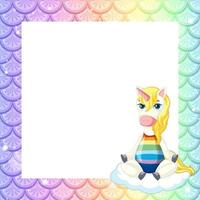 Blank pastel rainbow fish scales frame template with cute unicorn cartoon character vector