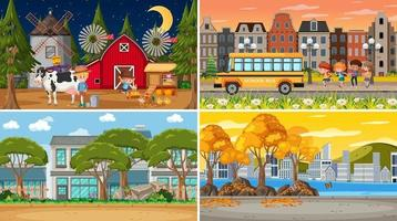 Set of different nature scenes background in cartoon style vector