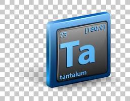 elemento químico de tantalio. símbolo químico con número atómico y masa atómica. vector