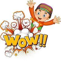 wow palabra sobre explosión de bomba con personaje de dibujos animados de niño musulmán aislado vector