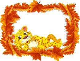 Red leaves banner template with leopard cartoon character vector