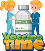 Fuente de tiempo de vacuna con dos médicos y botella de vacuna. vector