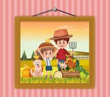 A picture of Dad and daughter in the farm scene hanging on the wall vector