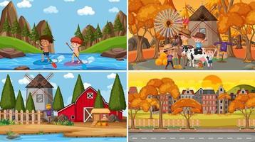 conjunto de diferentes escenas de la naturaleza estilo de dibujos animados vector