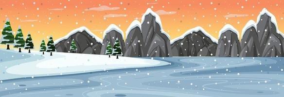 escena horizontal de nieve con paisaje de montaña al atardecer vector