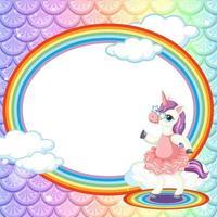Plantilla de marco ovalado sobre fondo de escamas de pez arcoíris con personaje de dibujos animados de unicornio vector