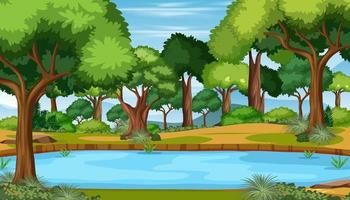 Nature scene with pond in the forest landscape vector
