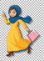 Beautiful arabic lady cartoon character vector
