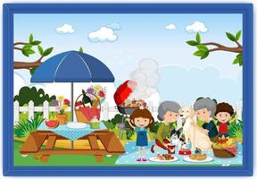 Happy family picnic outdoor scene in a photo frame vector