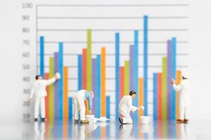 Miniature worker painting business graphs on a white background, business growth concept photo