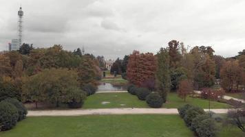 Drone flying through Sempione Park, Parco Sempione in Milan video