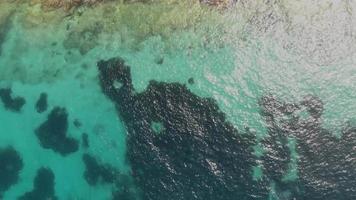 foto aérea de cima para baixo de uma costa rochosa em sliema malta video
