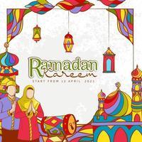 Hand drawn Ramadan Kareem Illustration with Colorful Islamic ornament vector