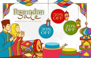 dibujado a mano ilustración de ramadan kareem con colorido islámico vector