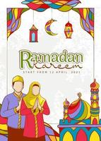Hand drawn Ramadan Kareem Illustration vector