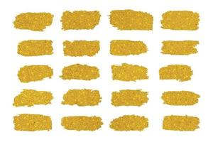 Gold brush strokes collection isolated on white background vector