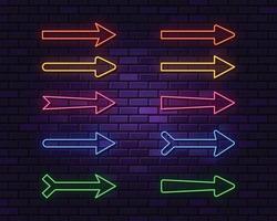 Neon arrows collection on dark background vector