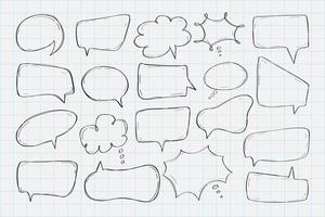 Hand drawn speech bubbles collection vector