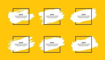 Quote frames with brush strokes isolated on yellow background vector