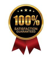 Golden 100 percent Guarantee with Red Ribbon Logo Sign vector