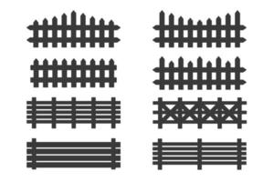 Black wooden fence set isolated on white background. vector