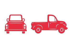Red pickup truck silhouette set