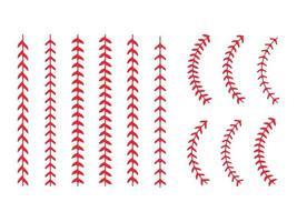 conjunto de costuras de béisbol rojo vector