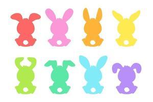 Conjunto de forma de silueta de conejo colorido de dibujos animados en blanco vector