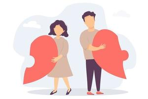 The man and the woman broke up. Each has half a heart in his hands. Disassembled the heart-shaped puzzle. Vecton flat illustration. The concept of breaking up relations and family, crisis and divorce vector