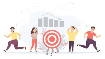 Vector. Business concept - crisis, failure, collapse of relationships and teamwork. A man and a woman near the target with falling arrows. People run away. Against the background of graphs and columns vector