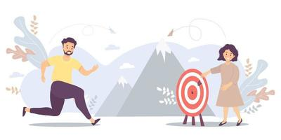 The guy runs to his goal, moves on motivation to the goal, on the way to the top of success. There is a girl standing there. Vector for task, goal, achievement, business, marketing concept, motivation