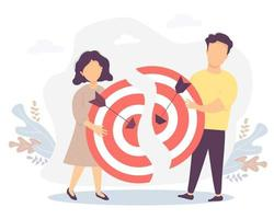 Vector illustration connecting the two halves of the goal, teamwork, collaboration, result and success. Business concept - Man and woman holding halves of a target with arrows hitting the target