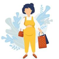 Maternity and shopping. Happy pregnant woman in yellow jumpsuit tenderly hugs her belly with one hand and holds bags from the store with the other. small bag hangs on the shoulder. Vector illustration