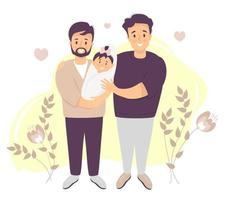 Male gay couple adopting baby. Two happy men holding new born child. vector illustration. Happy LGBT family with newborn daughter stands. parenthood, child care, concept for banner, website design
