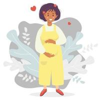 Motherhood. Happy dark-skinned pregnant woman in yellow overalls pants hugs her belly with her hands. Vector illustration. Flat design characters on decorative background of tropical leaves and hearts