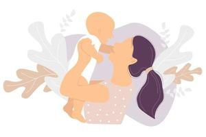 Motherhood. Happy woman and a small child in her arms against the background of a tropical decor of leaves and plants. Vector illustration. Concept - new life and happy mom and baby. flat illustration