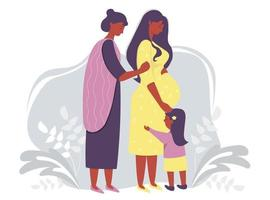 Motherhood and ethnic family. Happy pregnant dark-skinned woman in a yellow dress gently hugs her belly. Next to her is a woman mother and daughter on a gray decorative background. Vector illustration
