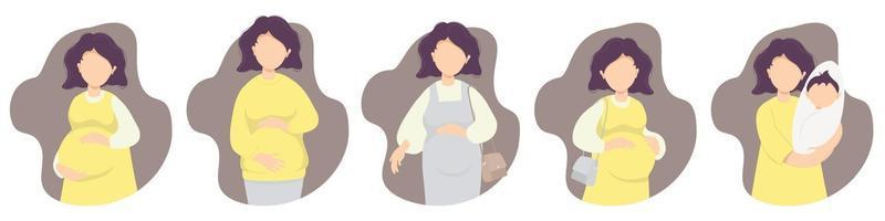 Motherhood. Pregnancy. Vector set dear Happy pregnant woman - gently hugs her belly with her hands in different clothes and with a newborn. Vector illustration. flat illustration