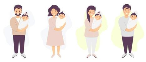 Happy parents with a baby. A man and woman are standing and holding their newborn son and daughter. Vector illustration. set of characters.flat illustration for design, decoration, print and postcards
