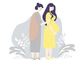 Motherhood and family. Happy pregnant woman in a yellow dress gently hugs her belly. Next to her is her fair skin woman mother on a gray decorative background. Vector illustration