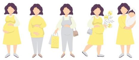 Motherhood. Vector set Happy pregnant woman in full growth. Gently hugs her belly with her hands, in a dress, overalls, with shopping bags, with a bouquet of flowers and with a newborn baby. flat