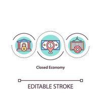 icono de concepto de economía cerrada vector