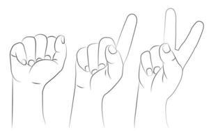 conjunto de gestos de mano. un puño cerrado levantado, el dedo índice hacia arriba y dos dedos levantados. vector