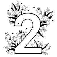 Flower number. Decorative floral pattern numbers two. Big 2 with flowers, buds, branches, leaves and hearts. Vector illustration on white background. Line, outline. For greeting cards, design, decor