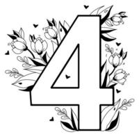 Flower number. Decorative floral pattern numbers Four. Big 4 with flowers, buds, branches, leaves and hearts. Vector illustration on white background. Line, outline. For greeting cards, design, decor
