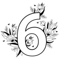 Flower number. Decorative floral pattern numbers six. Big 6 with flowers, buds, branches, leaves and hearts. Vector illustration on white background. Line, outline. For greeting cards, design, decor
