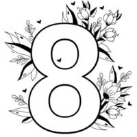 Flower number. Decorative floral pattern numbers Eight. Big 8 with flowers, buds, branches, leaves and hearts. Vector illustration on white background. Line, outline. For greeting cards, design, decor